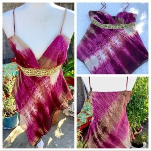 Vintage Blouse Dressy Cami Scarf Gold Lace Brocade